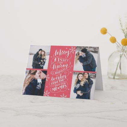 Merry Kisses Warm Wishes Save Date 4 Photo Folded Holiday Card In