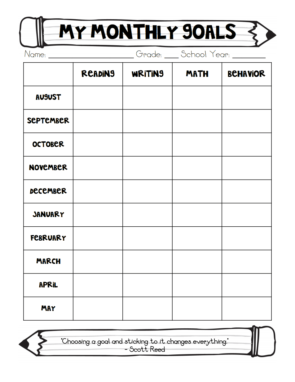 student s monthly goals chart pdf abc 123 goal charts classroom