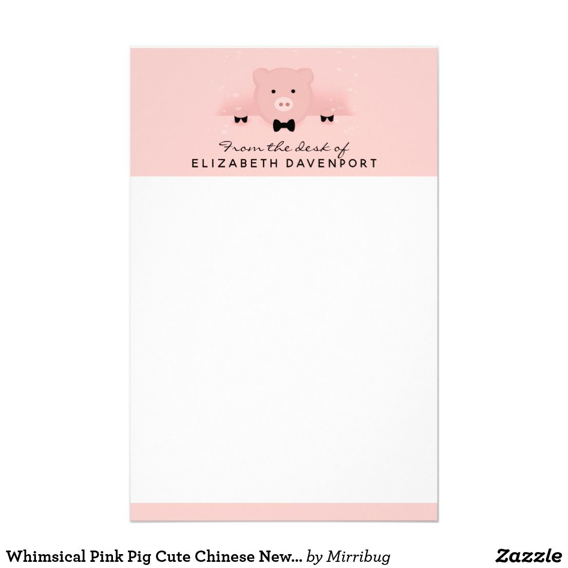 Whimsical Pink Pig Cute Chinese New Year Stationery | zazzle post-it ...