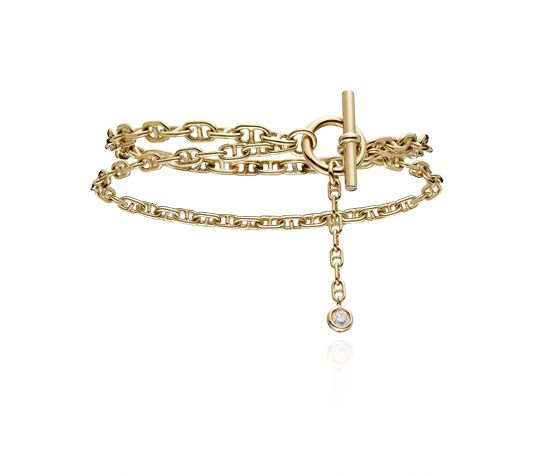 f59a2a5ce0db7a Chaîne d'Ancre Enchaînée Hermes double bracelet in yellow gold with 1  diamond (0.10