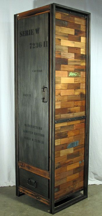 Tall Wardrobe Or Armoire With 1 Door And 1 Drawer Made From Reclaimed Salvaged Outrigger Canoe Fishing Boat Wood And Steel From Impact I Inredning Industriell