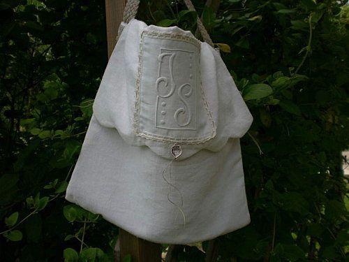 sac toile de drap et monogramme ancien / rfd 2015