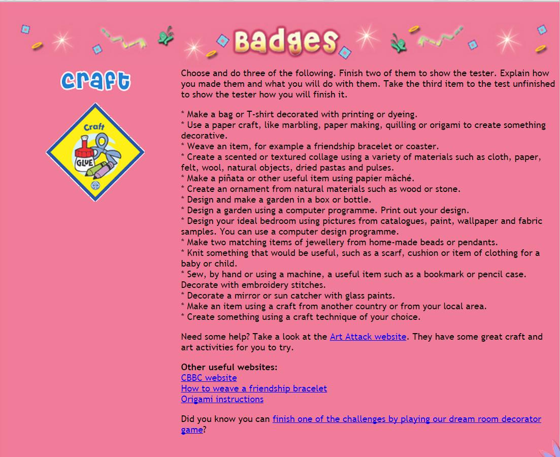 Brownie Craft Badge Syllabus