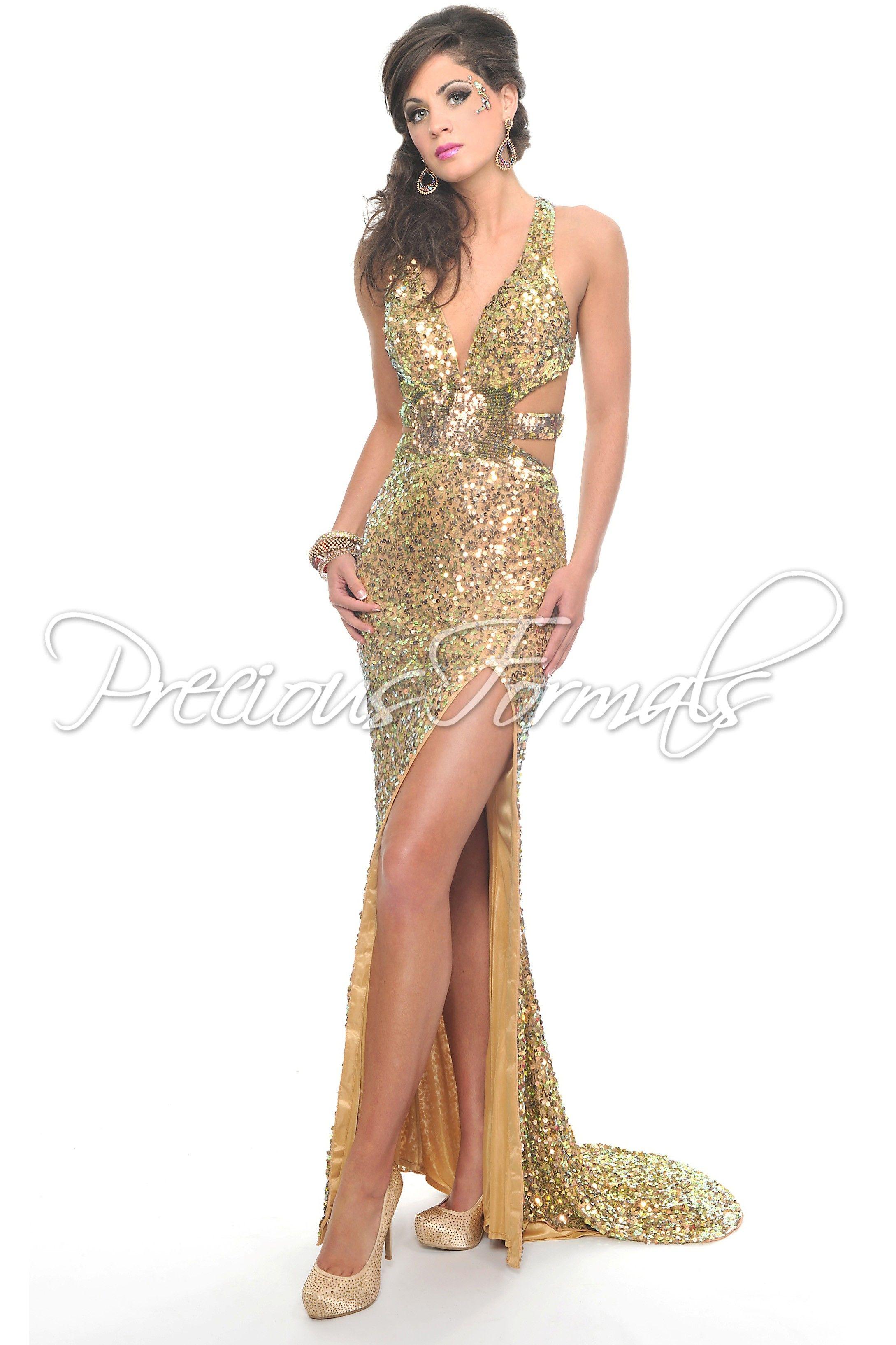 Love The Cutouts Precious Formals P8783 Copper Sequin Prom Dress