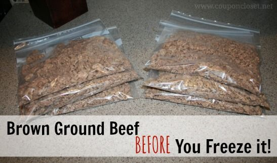 Did you know you can actually brown the ground beef before you freeze it? Save time and money by doing this first! Now you don't have to wait until your beef is thawed to cook dinner!