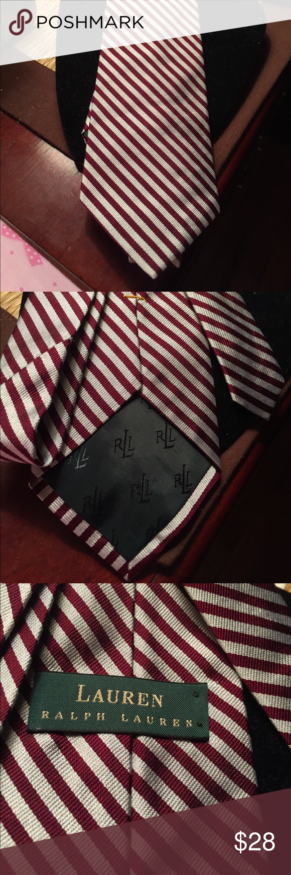 Ralph Lauren Silk tie Gorgeous Ralph Lauren Silk tie. Colors in silver gray and wine. Striking combination. Amazing quality in fantastic condition.  No damage or stains. Dress great for less. Lauren Ralph Lauren Accessories Ties