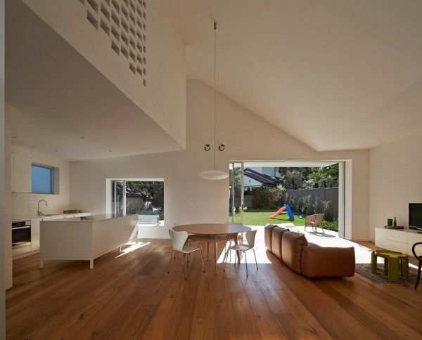 The unusual roofline gives the main living area a sense of openness.