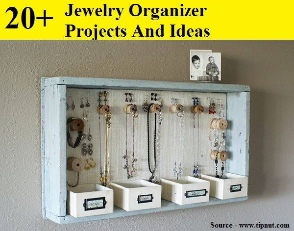 20+ Jewelry Organizer Projects And Ideas...For more creative tips and ideas FOLLOW https://www.facebook.com/homeandlifetips
