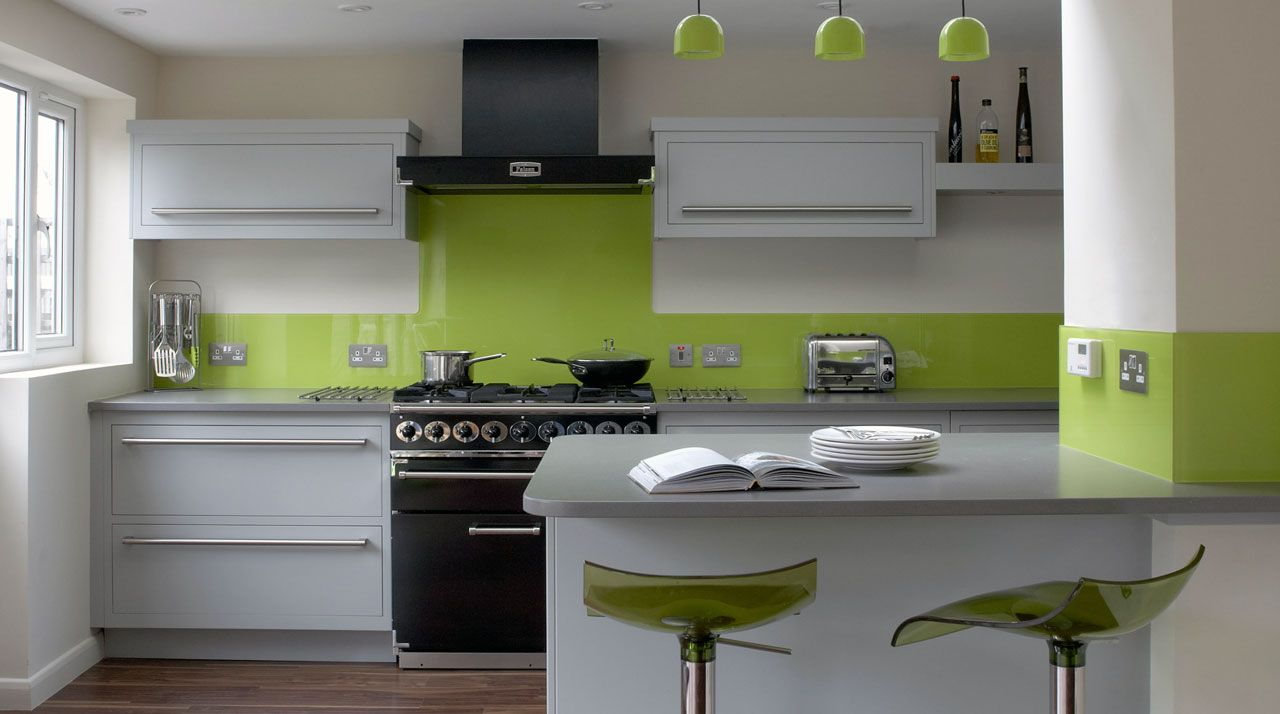 Green And Black Kitchen Ideas Part - 21: Black Appliances Wood Bench White Cabinets Green Walls - Google Search