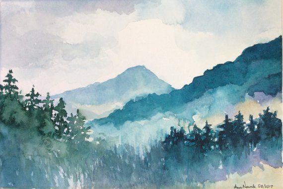 Matted Blue Mountains Original Watercolor Painting Landscape Watercolor Handmade Art Forest Mountain Painting Arte De Acuarela Arte Paisajes Paisajes Acuarela