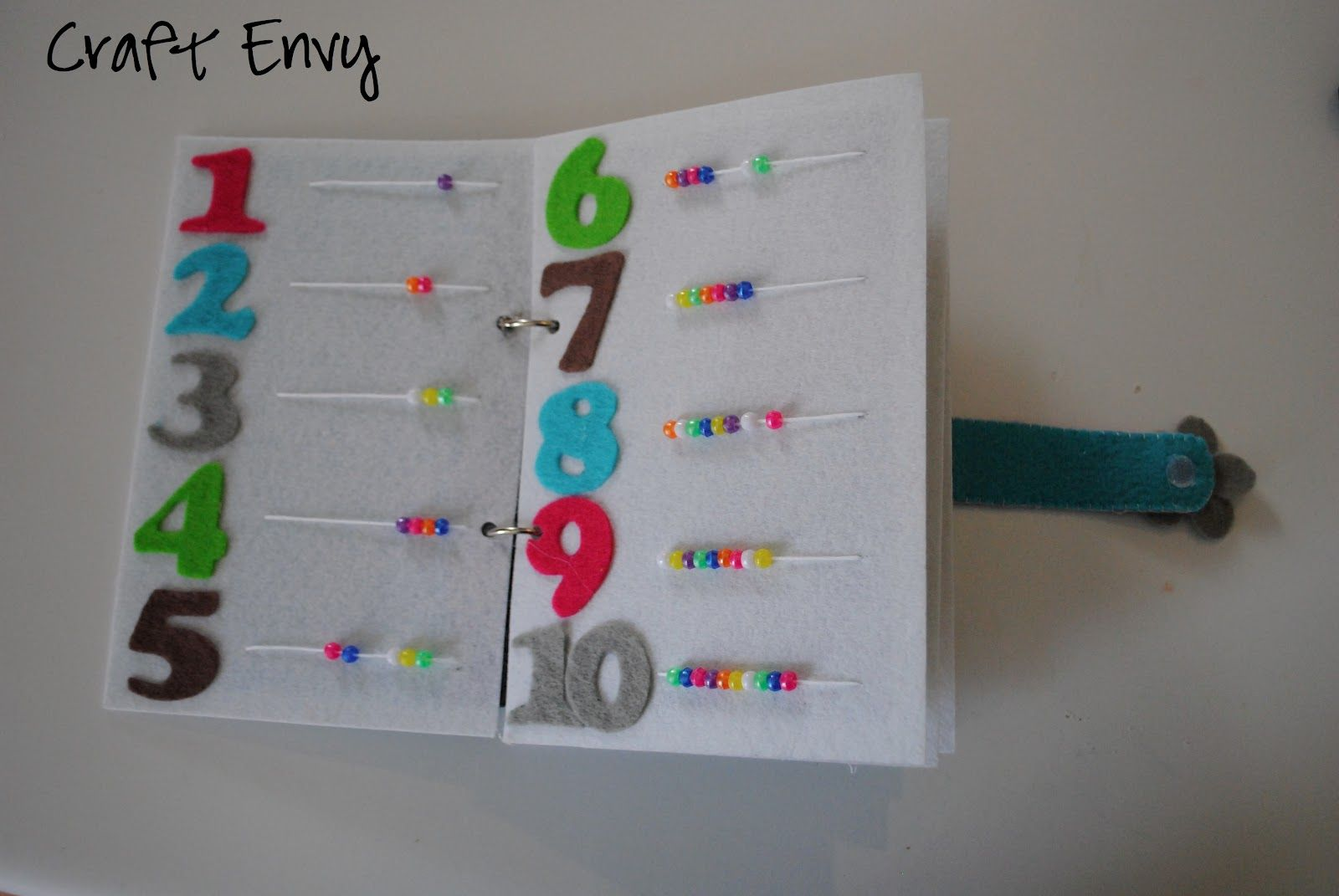 Books on felt crafts - Busy Book Counting Beads I Did This Exact Same Page In
