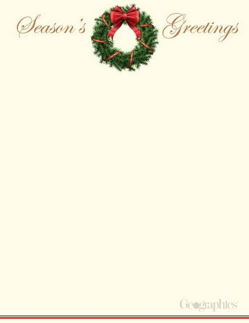 Season\'s Greetings Wreath Christmas Letterhead, Gold Foil, 8.5\