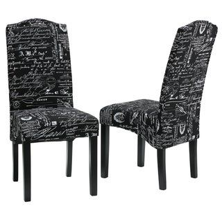 Cortesi Home Fletcher Dining Chair In Black Script Fabric Set Of