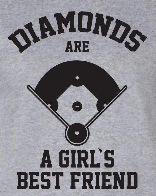 Photo of Diamonds Are A Girls Best Friend baseball softball sports funny Printed graphic T-Shirt Tee Shirt Mens Ladies Women Youth Kids ML-310b