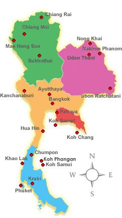 Map Of The Main Regions Of Thailand