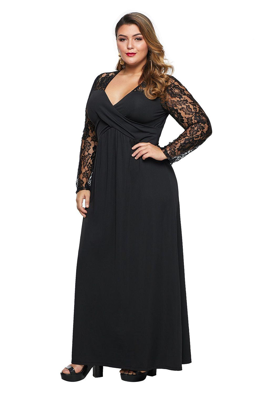black lace maxi dress plus size