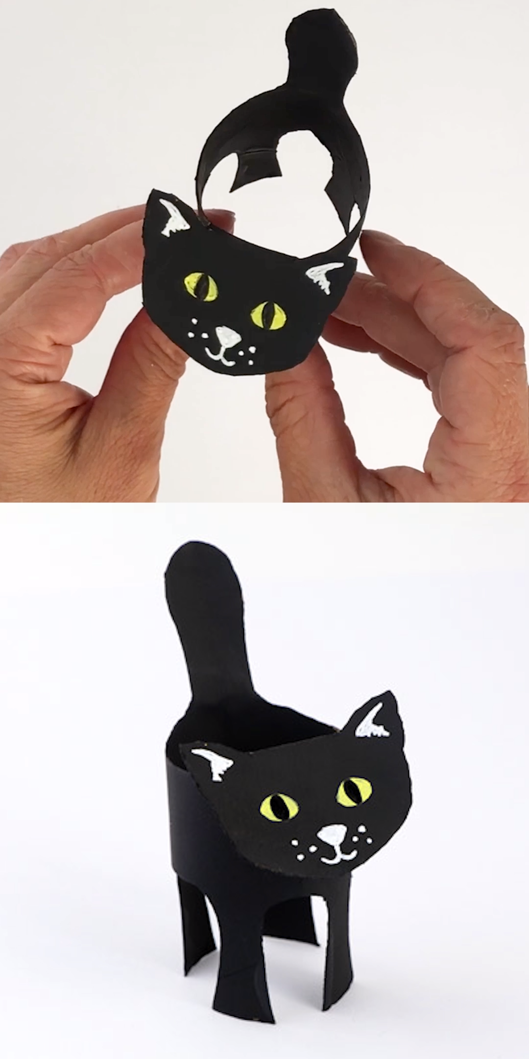Easy paper roll black cat craft for kids. Recycle an ordinary cardboard tube into an adorable black cat for Halloween! Printable template available  #blackcat #paperroll #halloween #kidscraft #kidsactivities #halloweencrafts #recycledcrafts #cardboardtubes