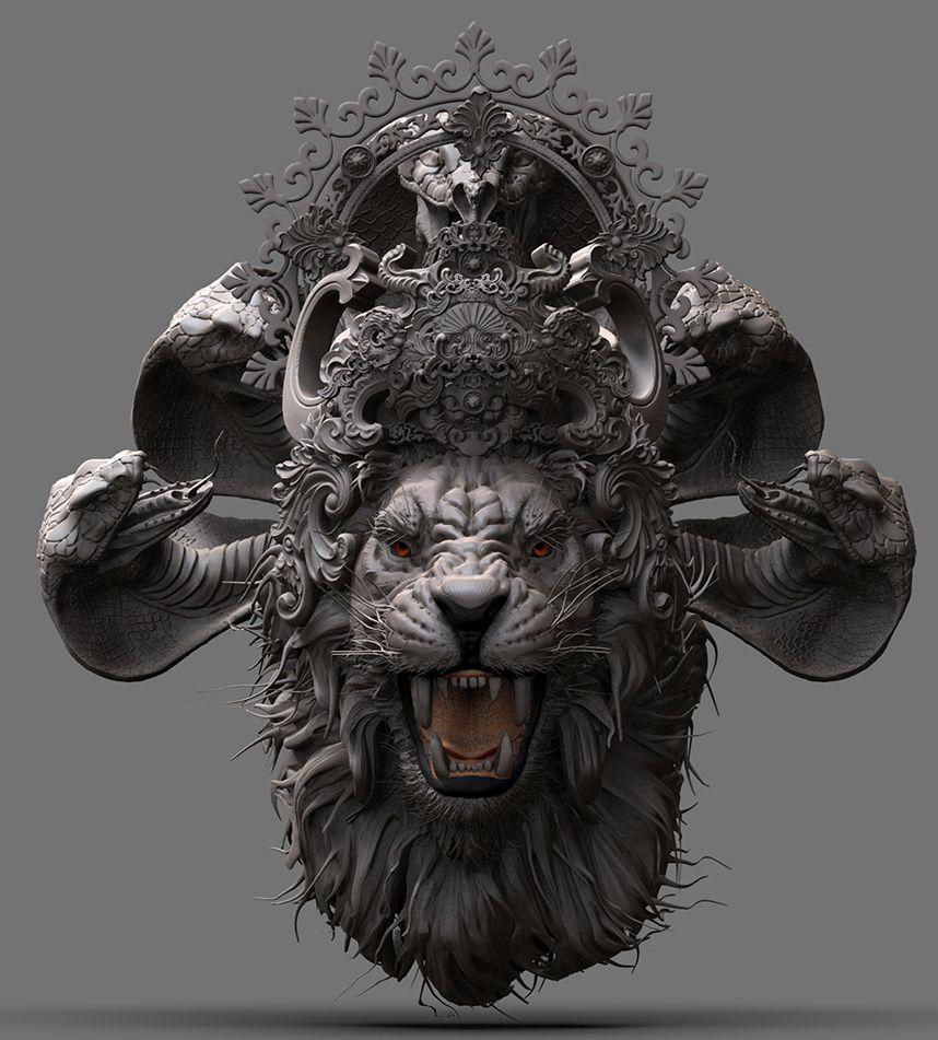Narasimha, , kallesh15 CGSociety God art, Lion art