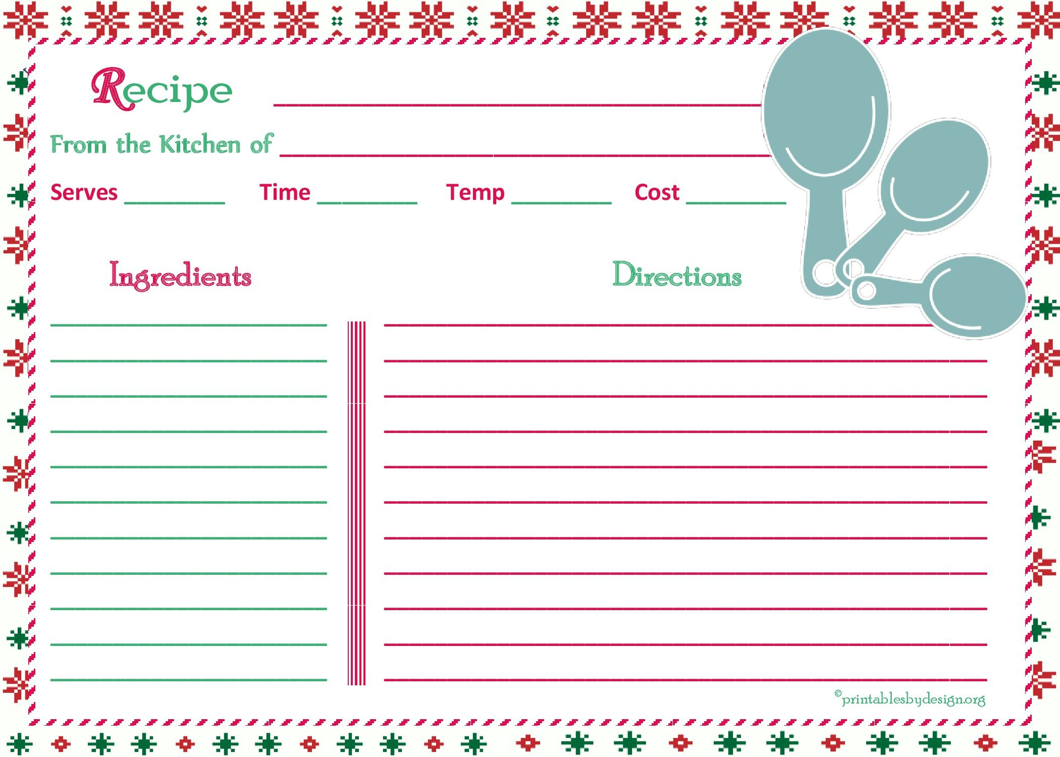 Christmas Pattern Background Recipe Card 5x7 Recipe Cards Christmas Pattern Background Meal Planning Printable