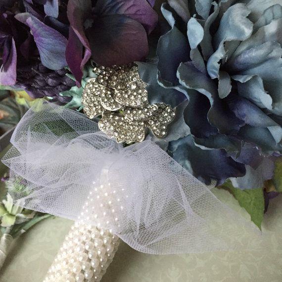 Silk Hydrangea Wedding Bouquet. Purples greens by MerryMeBouquets