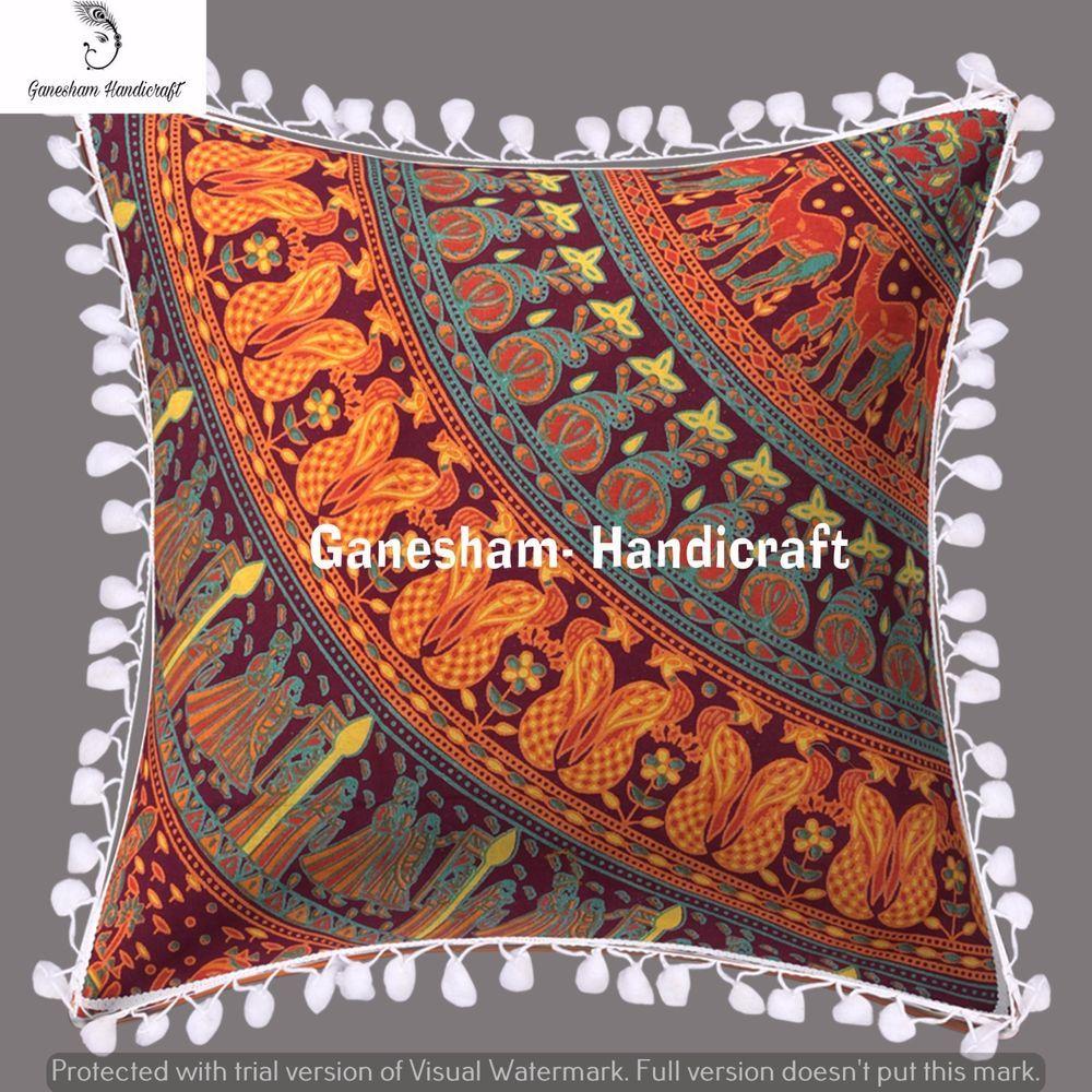 Indian handmade decorative pillow cases mandala bohemian car