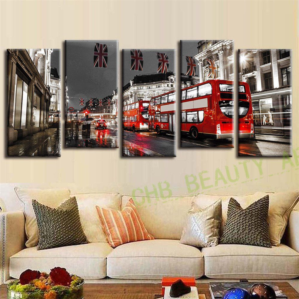 Wall Paintings Living Room 5 Pcs Set London Red Bus Wall Paintings Canvas Art Canvas Print