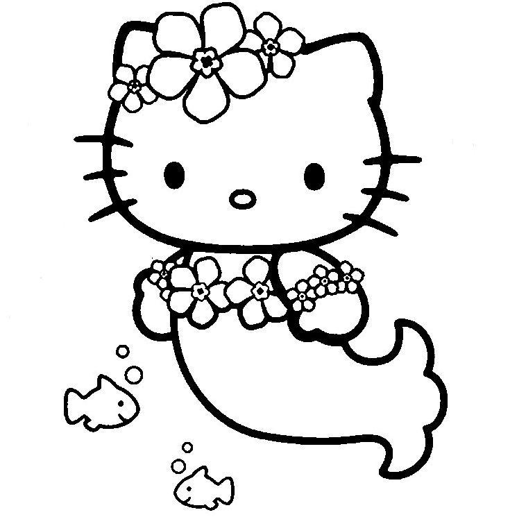 Coloriage De Fee Hello Kitty.Coloriage Hello Kitty En Sirene Coloriage Hello Kitty Coloring