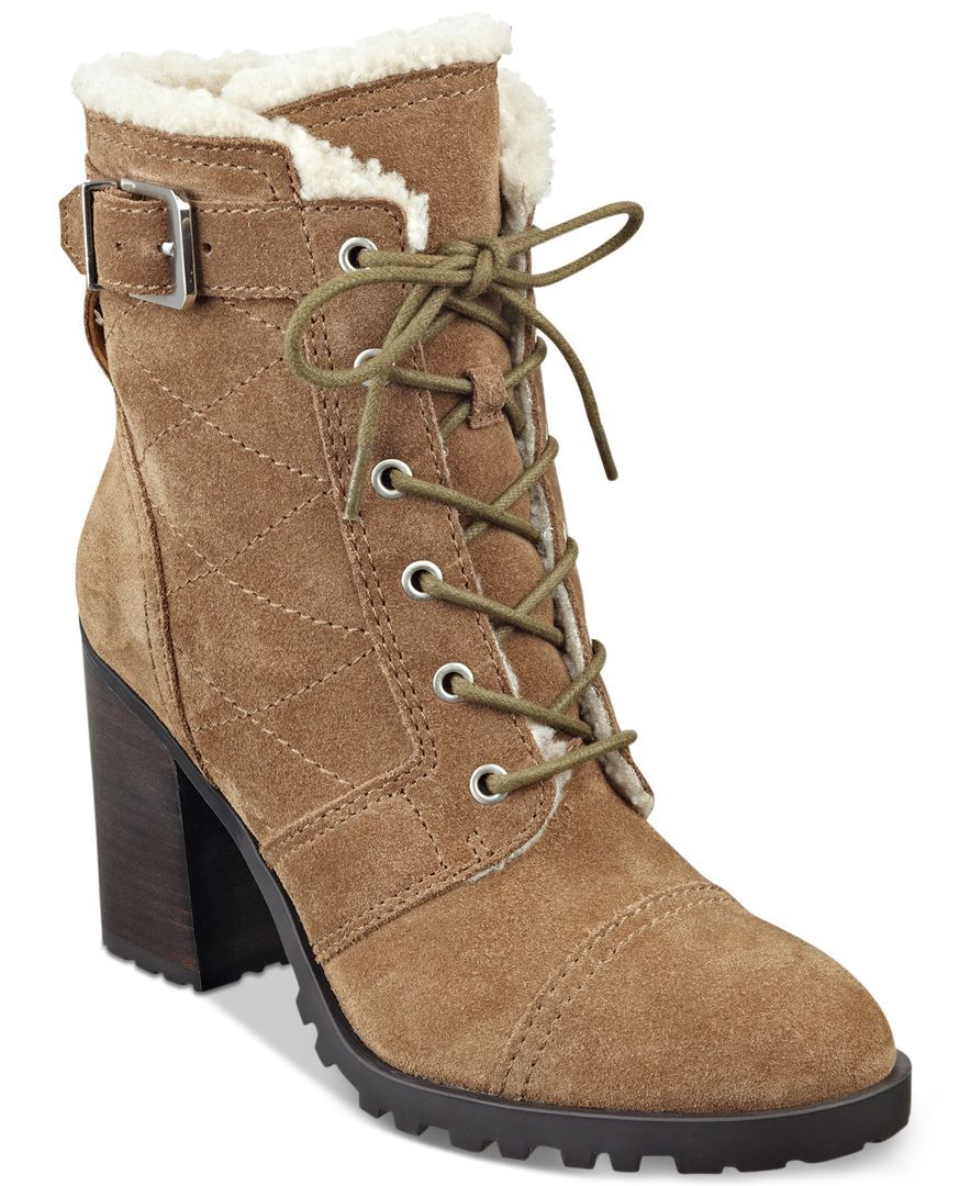 Ivanka Trump Gentry Suede and Faux Fur Ankle Boots