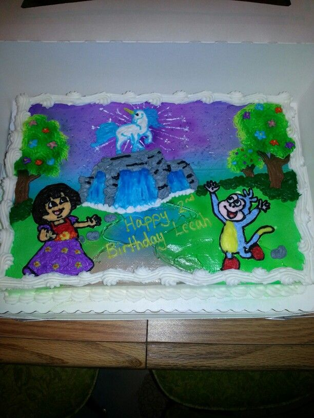 Dora the explorer birthday cake.