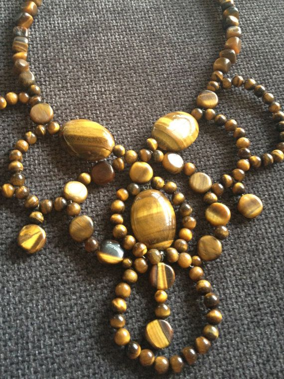 LIKI  Tiger Eye Wire Crochet Necklace by by HedoneDesignStudio