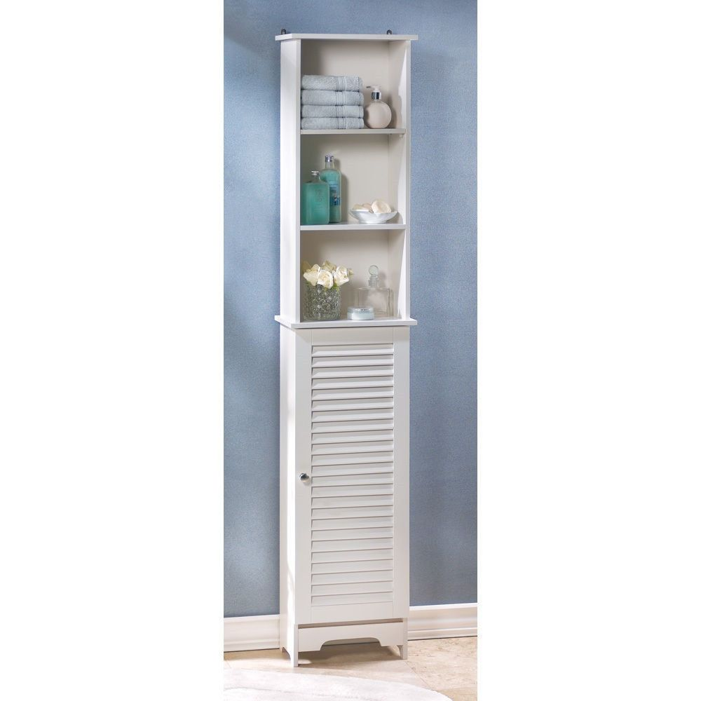 Tall Thin Narrow White Bathroom Room Shelf Organizer Storage Cabinet ...