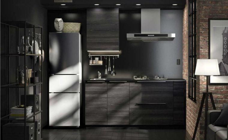 cucina-stile-maschile-mobili-colore-scuro-frigo-freestanding-lampada ...
