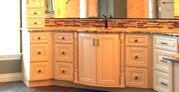 white cabinets with glaze bathroom - Google Search