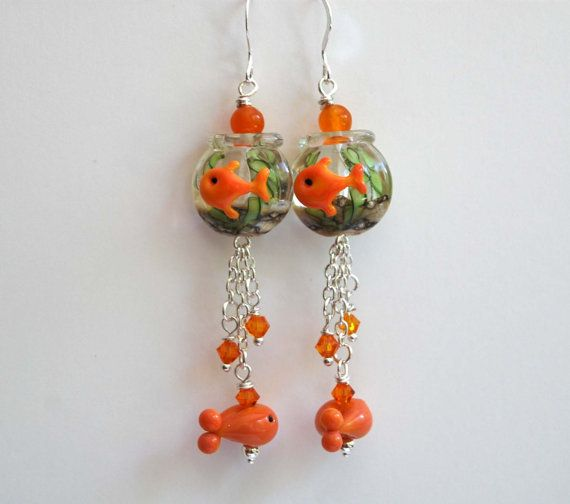 Gold Fish Earrings Bowl Whimsical By Bstrung On Etsy