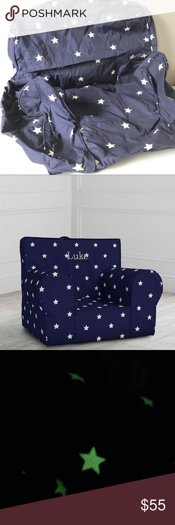 Pottery Barn Blue Stars Glow Anywhere Chair Cover Pottery
