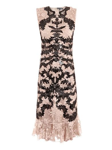 Alexander McQueen Laser-cut leather and lace dress