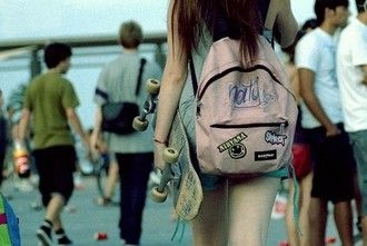 bag girl skater skateboard backpack rucksack eastpak love hipster nice beautiful pink smile