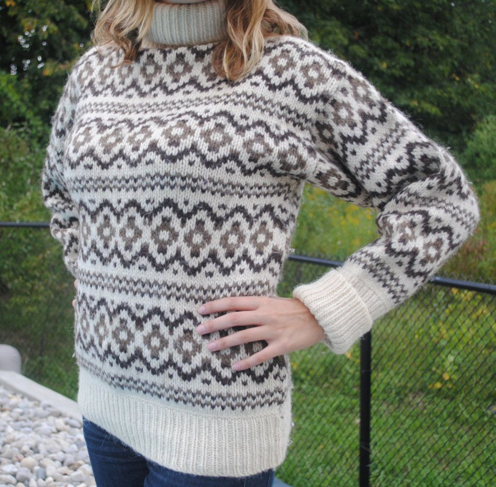 Danish wool sweater by Stobi, turtleneck, m, ski sweater