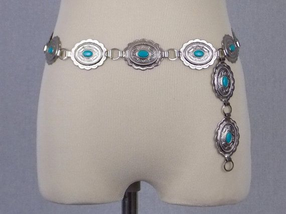 Faux Turquoise and Silver Concho Belt Up to by