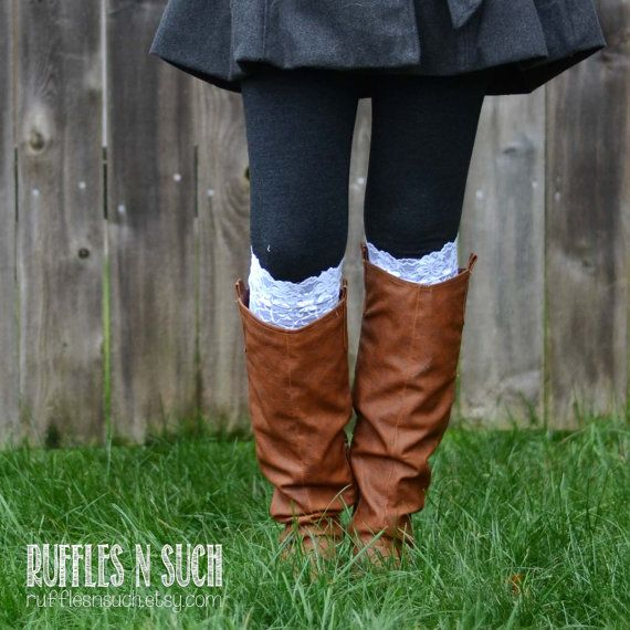 White Stretch Lace Boot Cuffs Ready to Ship Boot by rufflesnsuch