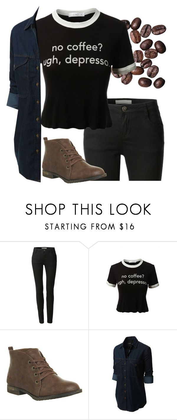"""No coffee? Ugh, Depresso."" by le3noclothing ❤ liked on Polyvore featuring LE3NO, Blowfish, women's clothing, women's fashion, women, female, woman, misses and juniors"