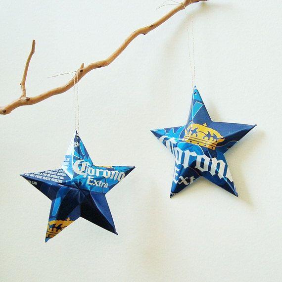 Corona Extra Beer Stars Christmas Ornaments Aluminum Can Repurposed Christmas Ornaments Corona Light Beer Christmas Deco