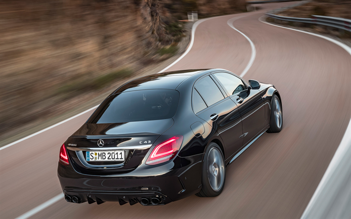 Download wallpapers Mercedes-Benz C43 AMG, 2018, C-Class