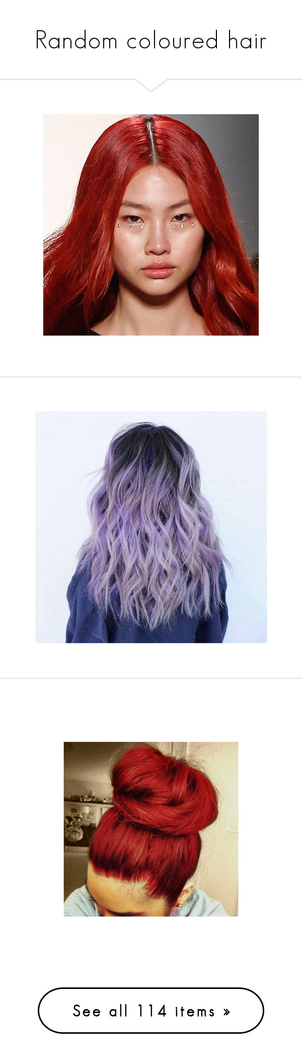 """""""Random coloured hair"""" by noir-wolf ❤ liked on Polyvore featuring beauty products, haircare, hair, bath & beauty, grey, hair care, hair extensions, hairstyles, hair styles and pictures"""