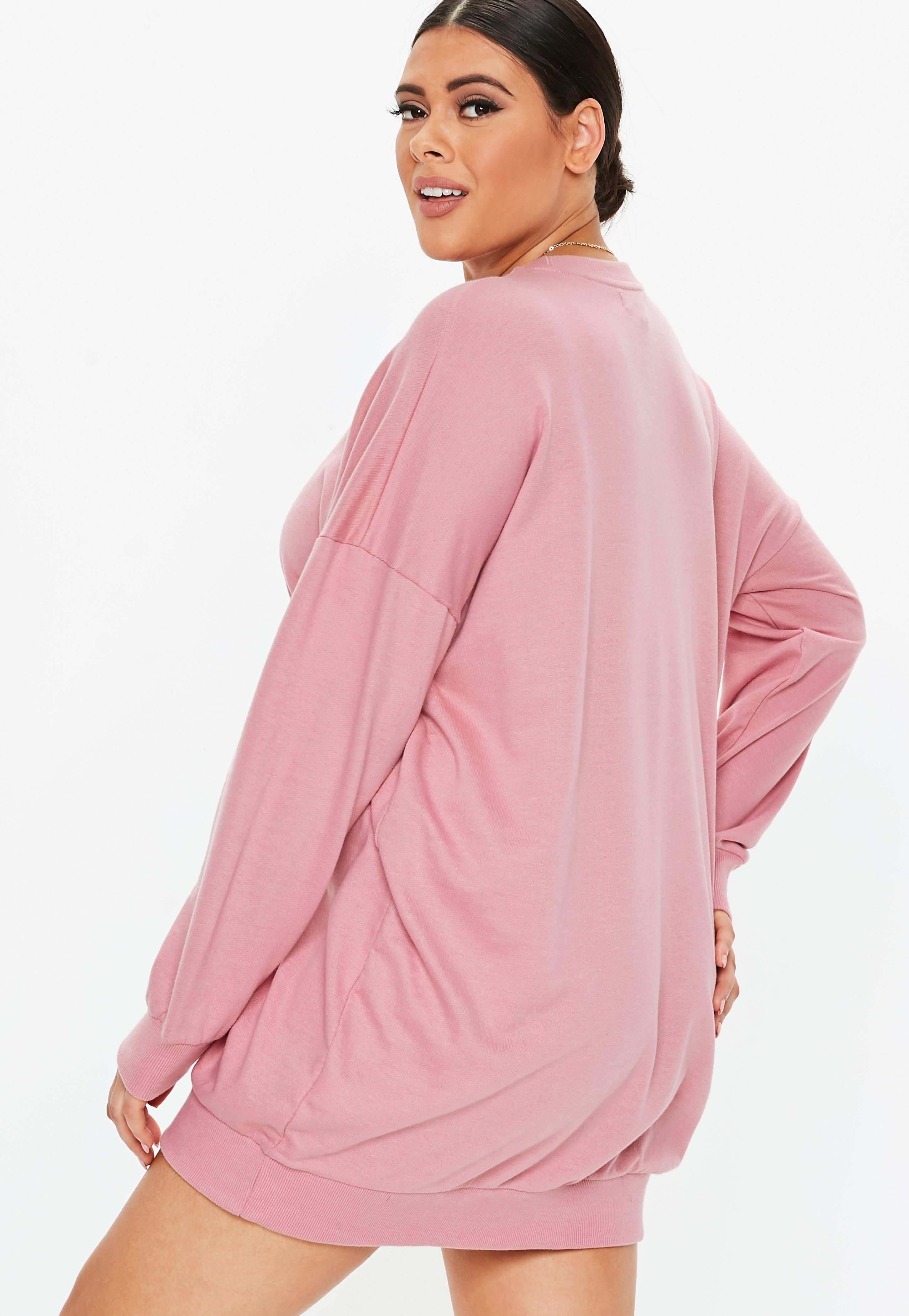 01cbae29714 Plus Size Pink Oversized Sweater Dress  Sponsored  Pink
