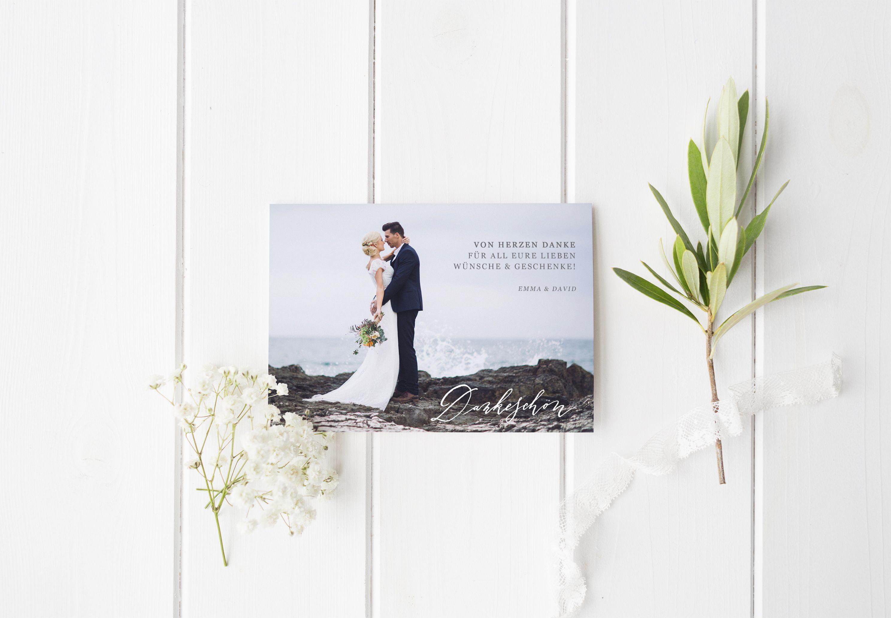 DIY Kalligrafie Dankeskarte Vorlage für Hochzeit I Elegance