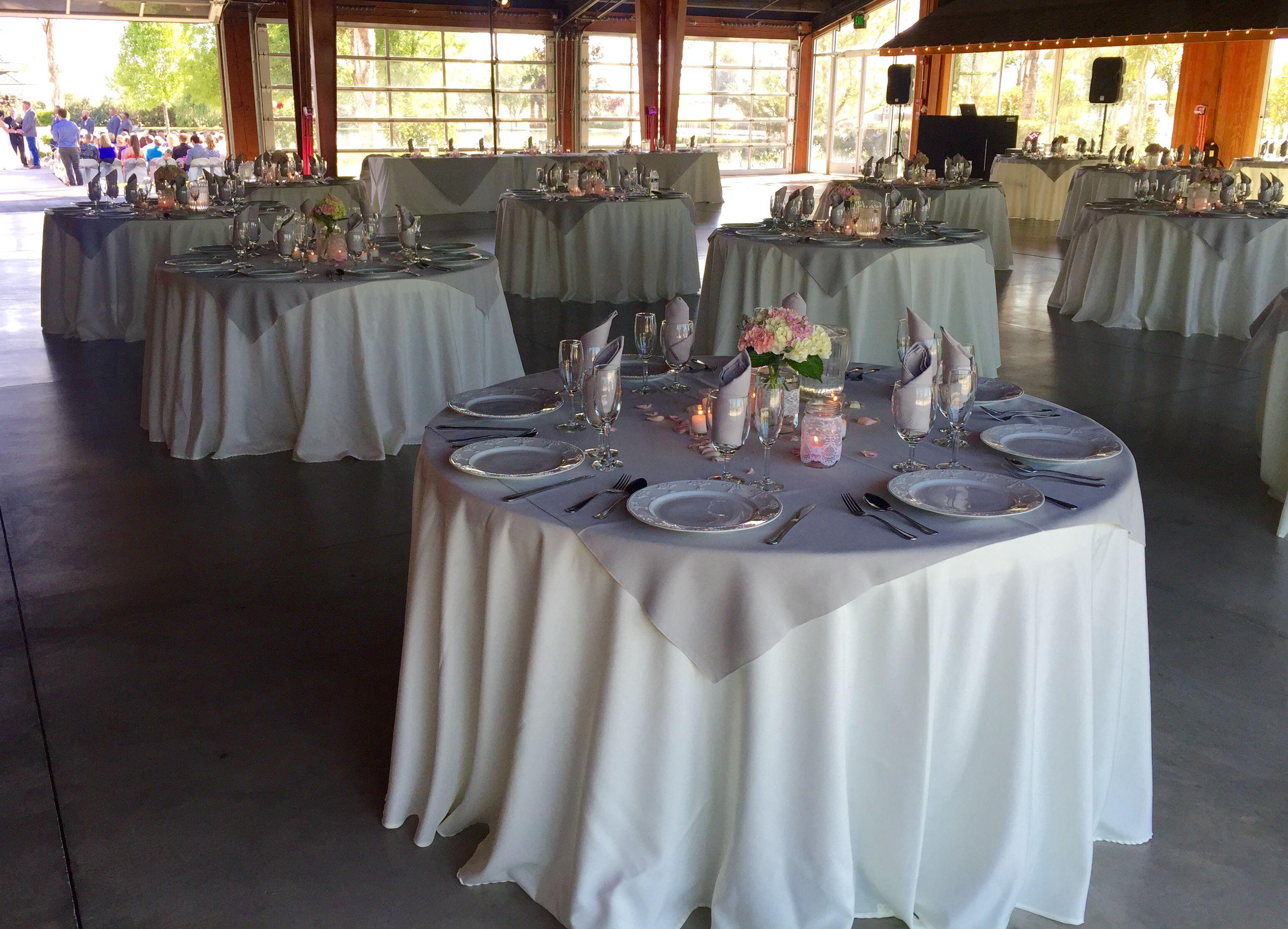 Ivory Non Skirted Table Cloth Light Grey Polyester Overlay Napkin