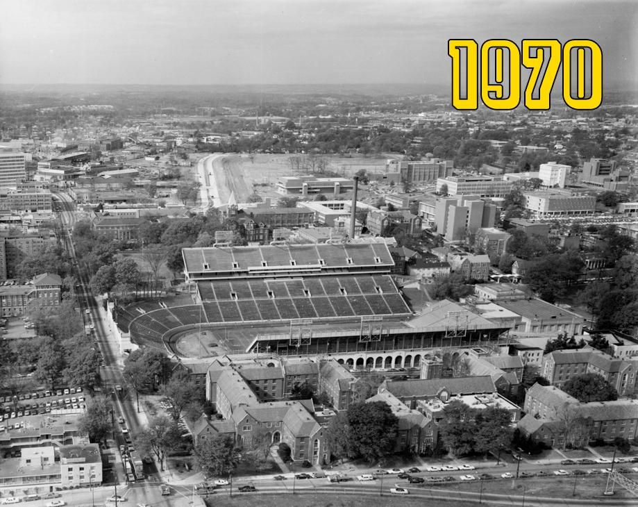 Aerial view of the Tech campus from 1970. Aerial