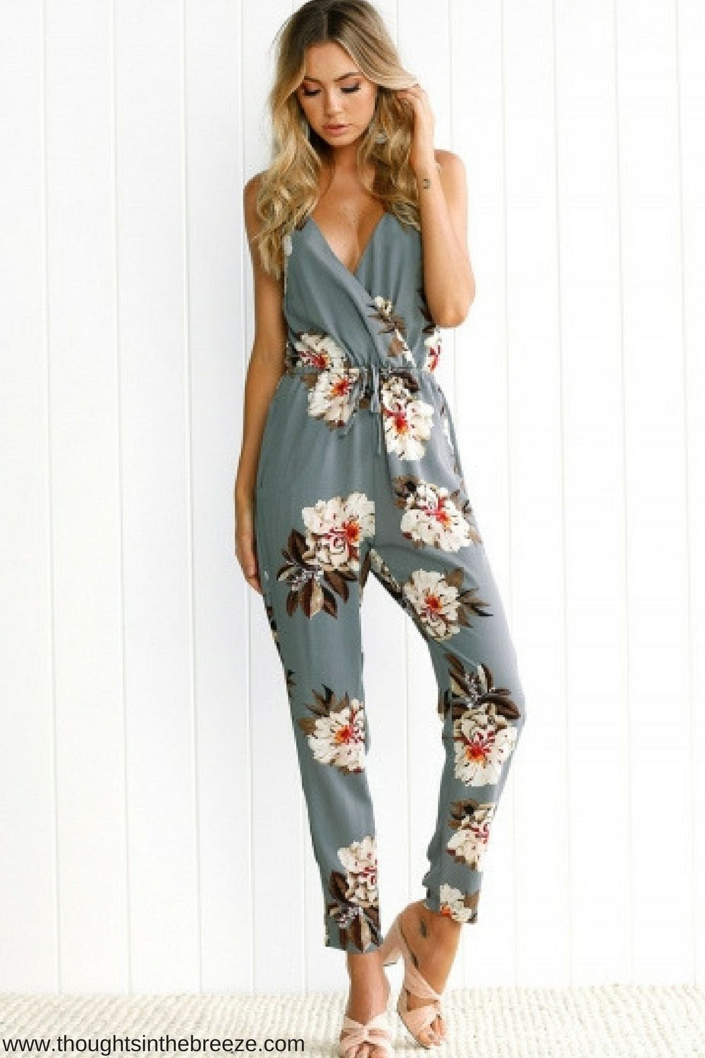 a71a9c92be5  24.99 Spaghetti Strap V Neck Floral Printed Jumpsuit Check out the trendy  spring rompers that are perfect fashion for spring and summer.