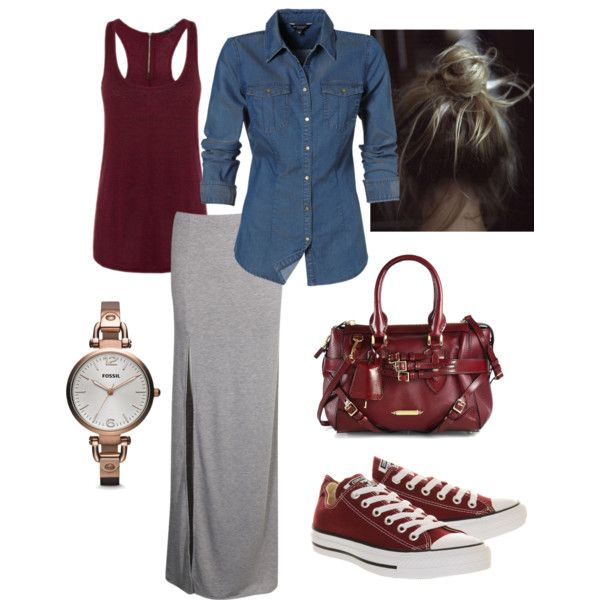 Casual maxi skirt with denim and converse